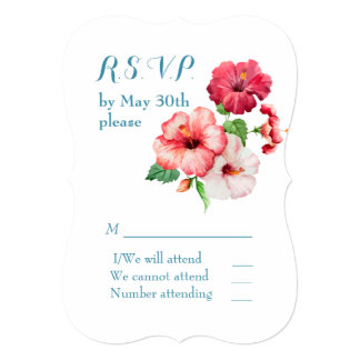 Watercolor Hibiscus Tropical Floral RSVP Card