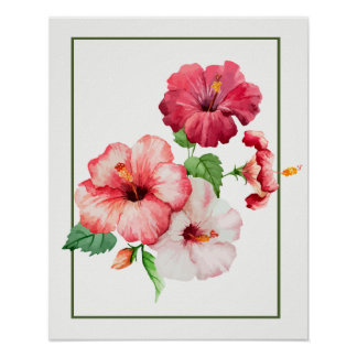 Watercolor Hibiscus Tropical Flowers Poster