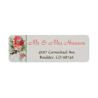 Watercolor Hibiscus Wedding Return Address Label