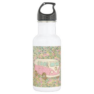 Watercolor Hippy Van Pink Flowers Gold Glitter 532 Ml Water Bottle