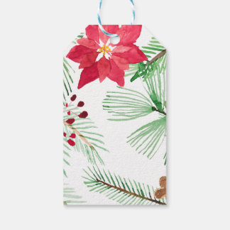 Watercolor Holiday Repeating pattern Poinsettia Gift Tags
