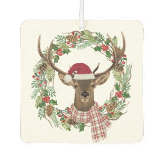 Watercolor holiday wreath with deer head