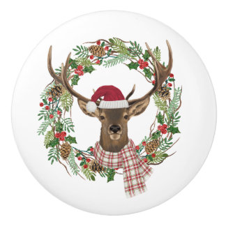 Watercolor holiday wreath with deer head ceramic knob