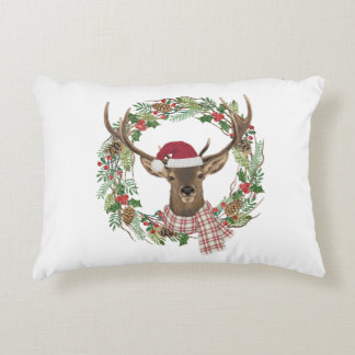 Watercolor holiday wreath with deer head decorative cushion