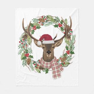 Watercolor holiday wreath with deer head fleece blanket
