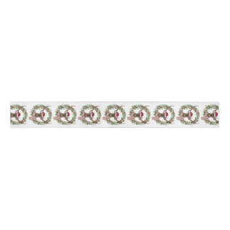 Watercolor holiday wreath with deer head grosgrain ribbon