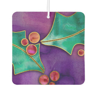 Watercolor Holly Berries Purple Green Red Holiday
