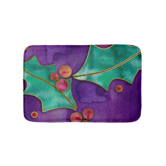 Watercolor Holly Berries Purple Green Red Holiday Bath Mats