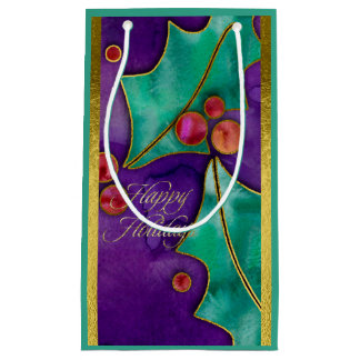 Watercolor Holly Berries Purple Green Red Holiday Small Gift Bag