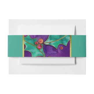 Watercolor Holly Berries Purple Green Red Holiday Invitation Belly Band
