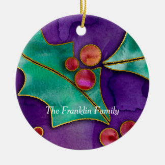 Watercolor Holly Berries Purple Green Red Holiday Round Ceramic Decoration