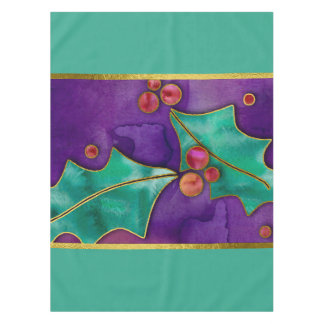 Watercolor Holly Berries Purple Green Red Holiday Tablecloth