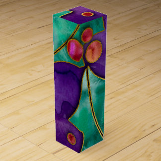 Watercolor Holly Berries Purple Green Red Holiday Wine Box