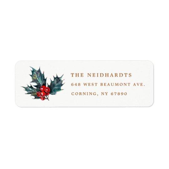 Watercolor Holly Berries Return Address Labels