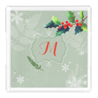 Watercolor Holly Berry Holiday Monogram Acrylic Tray