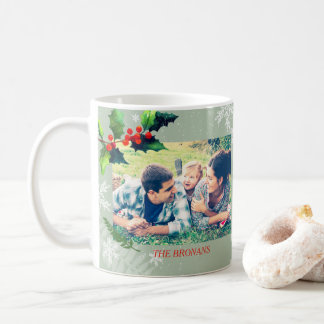 Watercolor Holly Berry Holiday Photo Coffee Mug