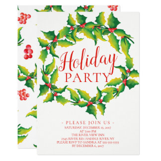Watercolor Holly Berry Wreath Holiday Invitation