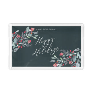 Watercolor Holly Happy Holidays Acrylic Tray