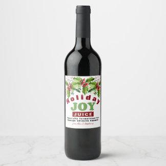 Watercolor Holly Holiday Joy Juice Wine Label