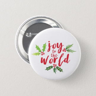 Watercolor Holly Joy to the World Christmas 6 Cm Round Badge