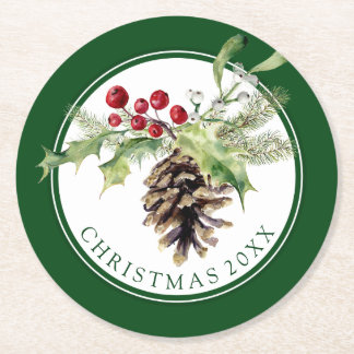 Watercolor Holly & Mistletoe Pine Cone Decoration Round Paper Coaster