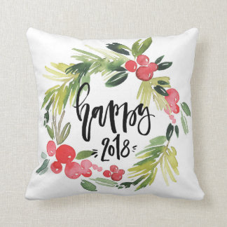 Watercolor Holly Wreath Happy New Year 2018 Cushion