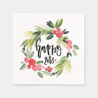 Watercolor Holly Wreath Happy New Year 2018 Disposable Napkin