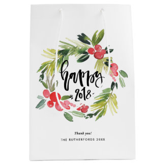 Watercolor Holly Wreath Happy New Year 2018 Medium Gift Bag