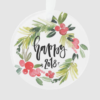 Watercolor Holly Wreath Happy New Year 2018 Ornament