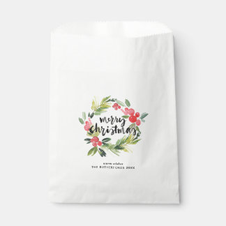 Watercolor Holly Wreath Merry Christmas Custom Favour Bag