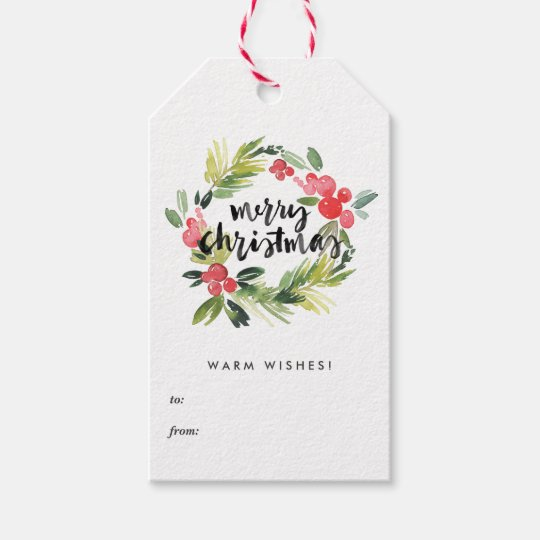 Merry Christmas Gift Tags.Watercolor Holly Wreath Merry Christmas Gift Tags