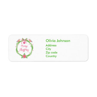Watercolor Holly Wreath Merry Christmas Label Return Address Label