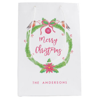 "Watercolor Holly Wreath ""Merry Christmas"" Medium Gift Bag"