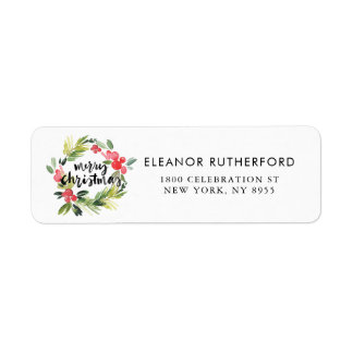 Watercolor Holly Wreath Merry Christmas Return Address Label