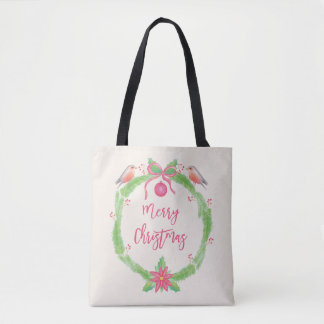 Watercolor Holly Wreath Merry Christmas Tote Bag
