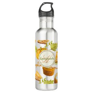 Watercolor Homemade Pumpkin Pie & Treats Monogram 710 Ml Water Bottle