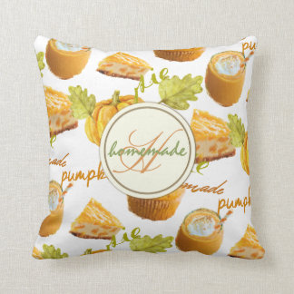 Watercolor Homemade Pumpkin Pie & Treats Monogram Cushion