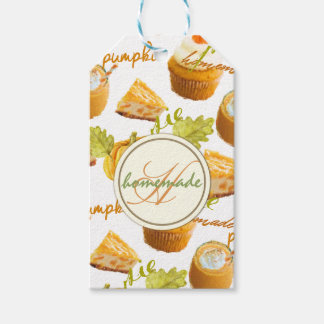 Watercolor Homemade Pumpkin Pie & Treats Monogram Gift Tags