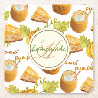 Watercolor Homemade Pumpkin Pie & Treats Monogram Square Paper Coaster