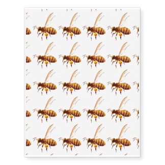 Watercolor honey bee temporary tattoos