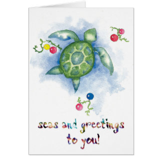 Watercolor Honu Turtle Christmas Card