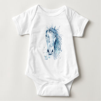 Watercolor horse portrait baby bodysuit