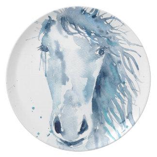 Watercolor horse portrait dinner plates