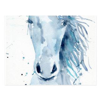 Watercolor horse portrait postcard