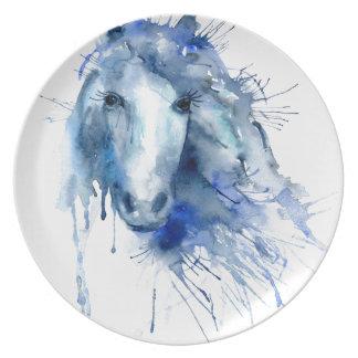 Watercolor horse Portrait with paint splatter Party Plates