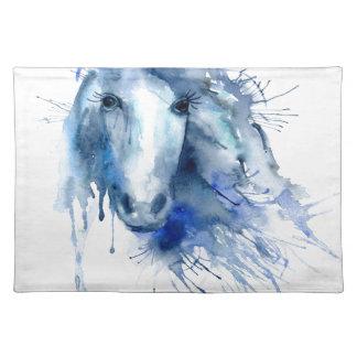 Watercolor horse Portrait with paint splatter Placemat