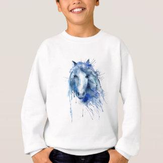 Watercolor horse Portrait with paint splatter Sweatshirt