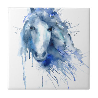 Watercolor horse Portrait with paint splatter Tile