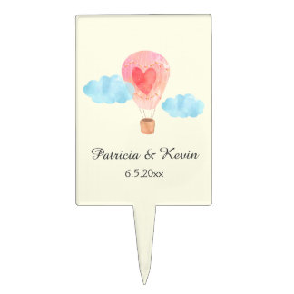 Watercolor Hot Air Balloon Wedding Cake Picks