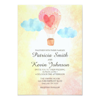Watercolor Hot Air Balloon Wedding Card